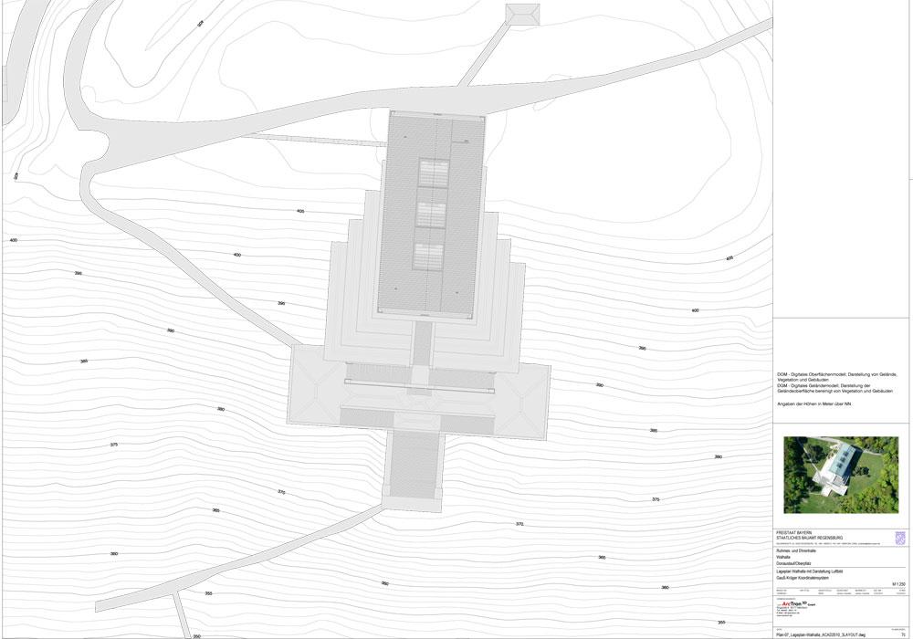 3D Aufmass der Walhalla; Lageplan+Luftbild