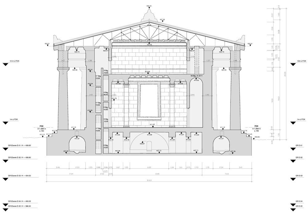 Walhalla Galerie 3D-Aufmaß, Querschnit