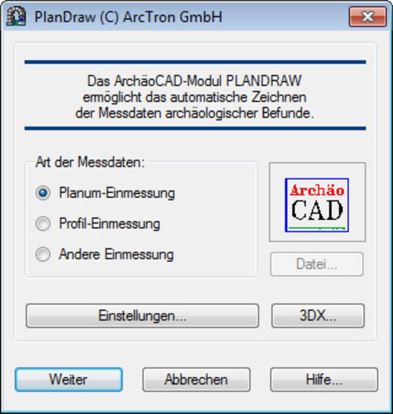 ArchäoCAD Plandraw Messdaten