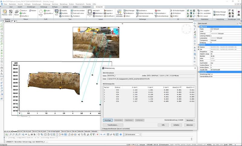 ArchäoCAD Rectify Bildplan - Ansicht einer Mauer bestehend aus 3 Fotos. Letztes Bild wird gerade zugeordnet.