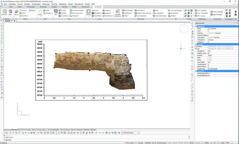 ArchäoCAD Rectify Fertig montierter Bildplan der Maueransicht bestehend aus 3 Einzelbildern