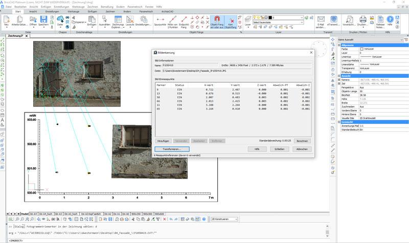 ArchäoCAD Bildplanerstellung einer Hausfassade mit Rectify