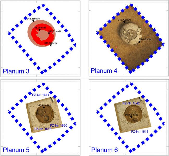 ArchäoCAD Rectify Planum Urnenbestattung