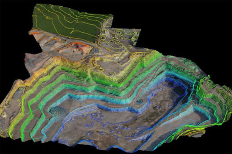 3D-Grubenmodell mit Höhenlinien