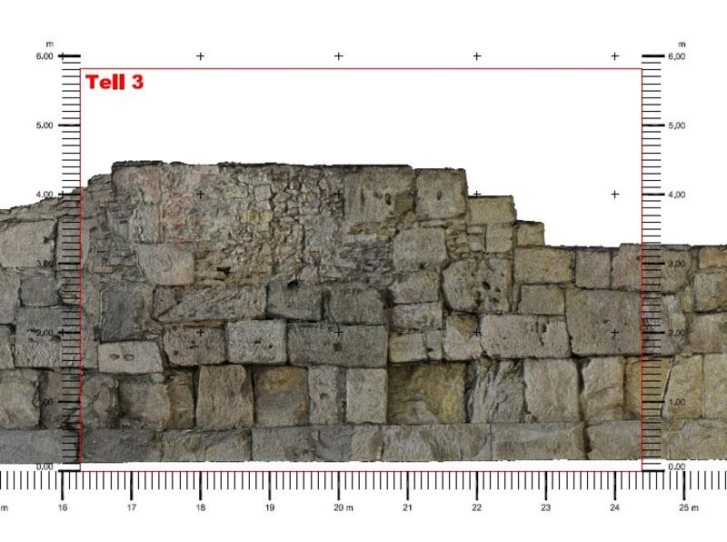 Bauforschung photorealistische Orthoansicht einer Mauer