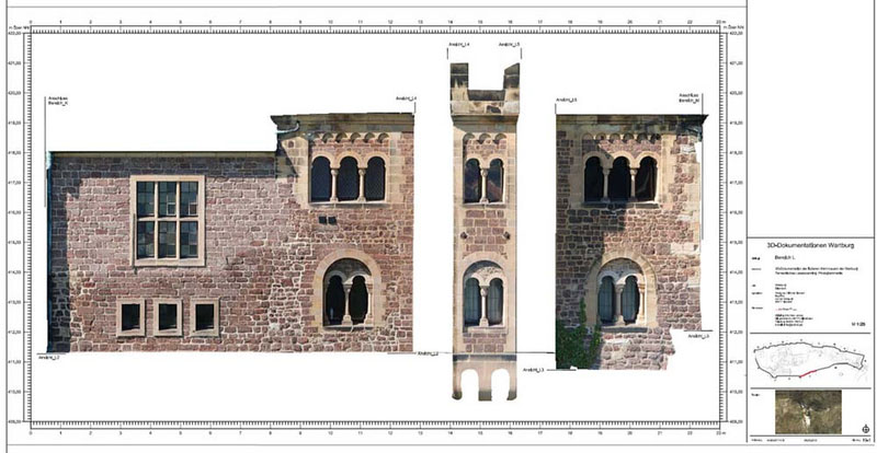 Datenverarbeitung 3D-Dokumentation Wartburg CAD-Plan Orthofoto