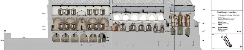 Datenverarbeitung Burg Vianden CAD-Plan Längsschnitt Orthoansicht