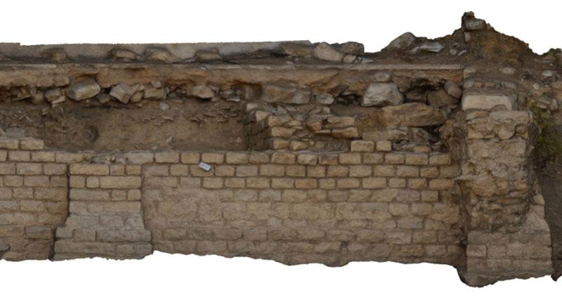 3D-Modell vom Teilabschnitt einer Mauer