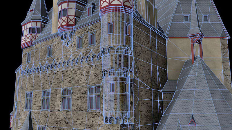 Burg Eltz digitales 3D-Modell mit Geometrien