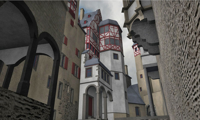 Burg Eltz digitales 3D-Modell Street-View