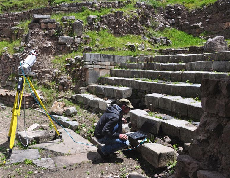 Chavin Vermessung der Tempelanlage aussen