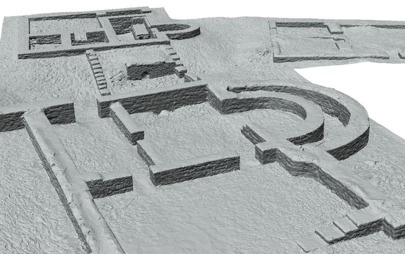 Dokumentation Abusina 3D-Modell schattiert Badgebäude Detailansicht