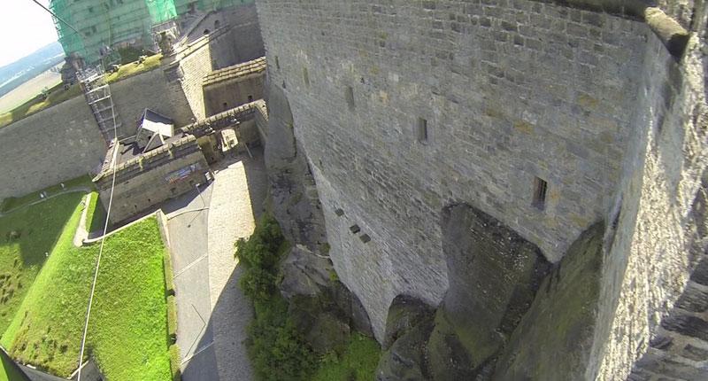 Festung Königstein Filmaufnahmen Abseiling
