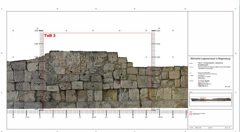 Römermauer Regensburg Orthoansicht Teilplan Legionslagermauer