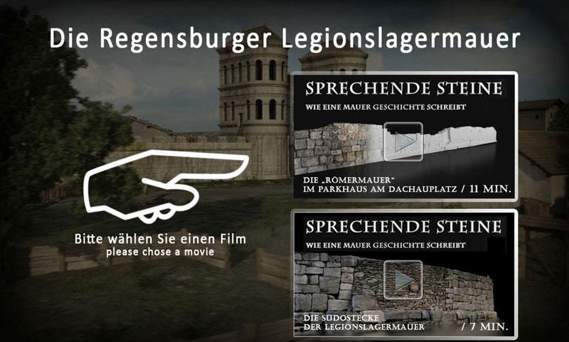 Römermauer Regensburg Touchscreen Bildoberfläche