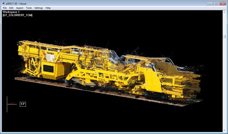 Scan Gleisbauzug MATISA Punktewolke GT-Einheit