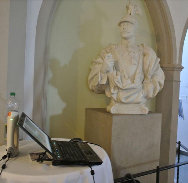 Wilhelm-Statue Büste wird 3D-vermessen