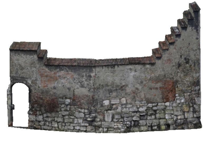 Legionslagermauer Regensburg Modell texturiert NO-Ecke