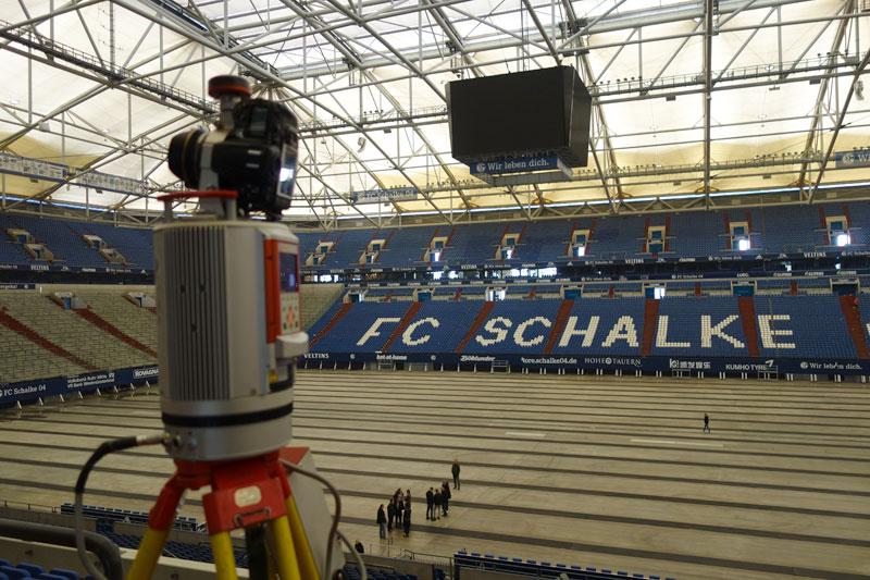 Veltins Arena 3D-Laserscan mit Riegl Laserscanner