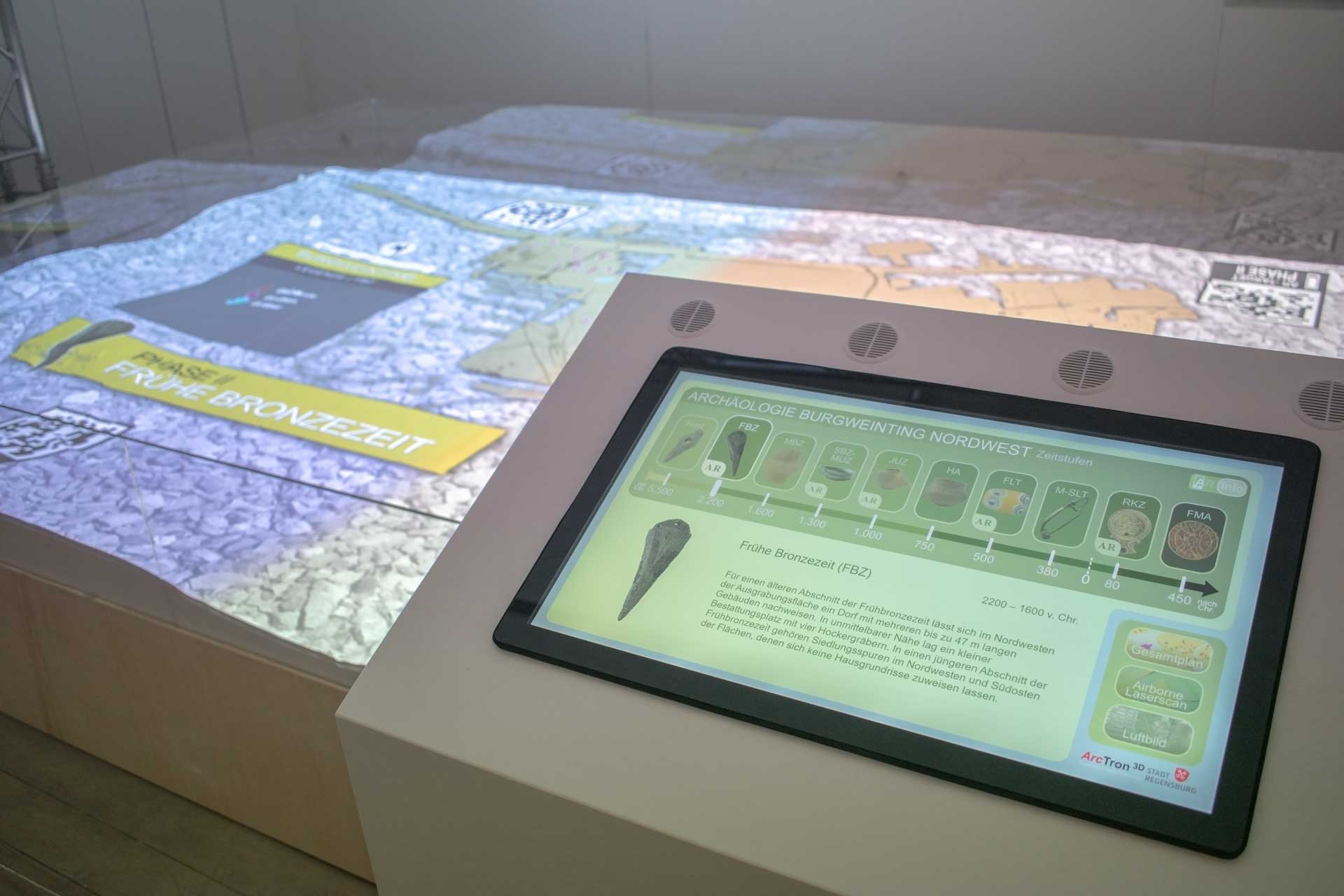 Museum application: touch-panel controlling 3D projection on landscape model