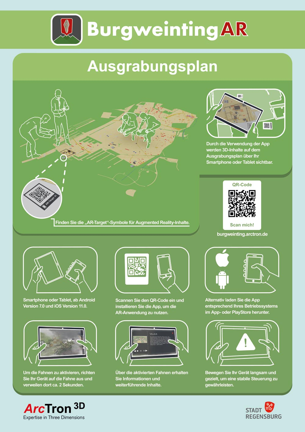 Instructions for the photo flooring with Augmented Reality content - using your own smartphone or tablet.
