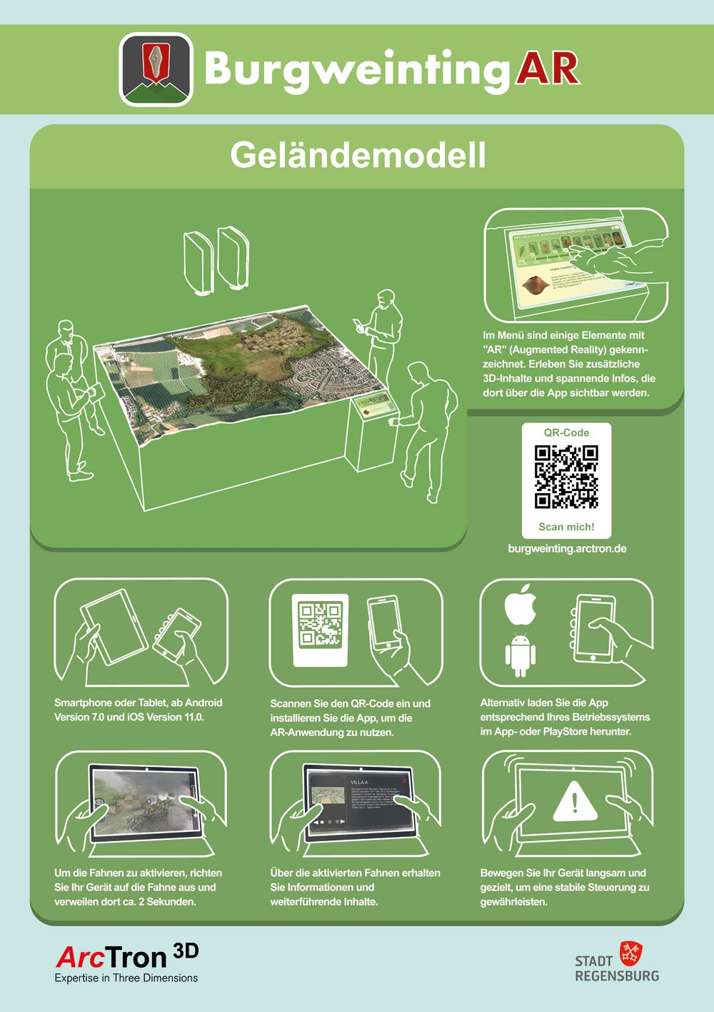 Poster explaining the AR application on your own device for the terrain model.