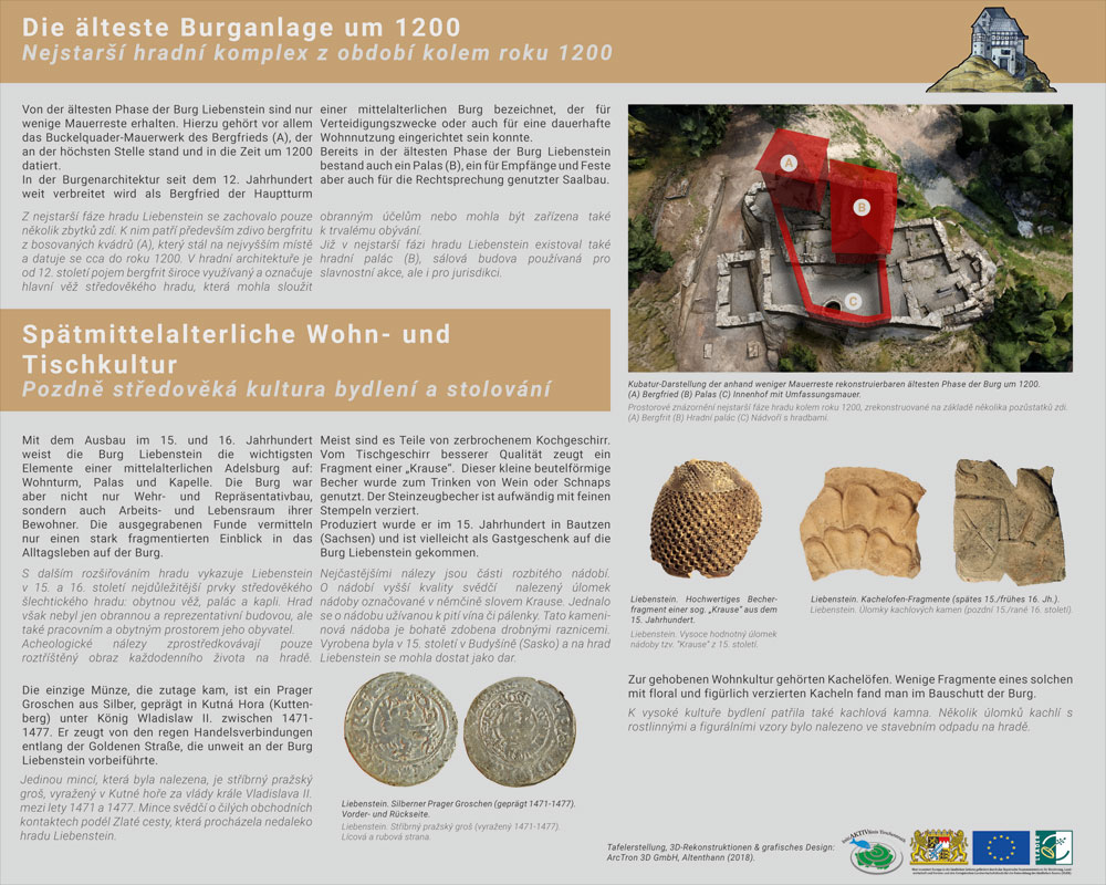 Information board II Burg Liebenstein - reconstruction around 1200 up to the Late Middle Ages