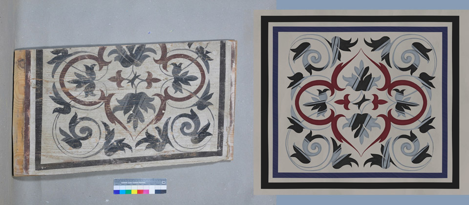 Original filling board of the ceiling on the left and next to it the digital reconstruction