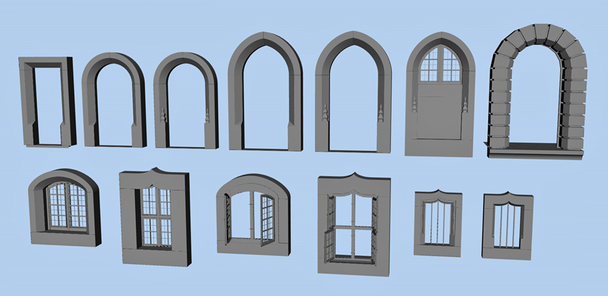 Different designs for different door walls and window reconstructions