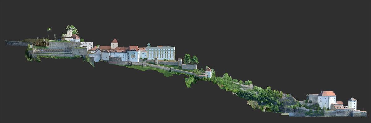 Veste Oberhaus und Niederhaus Passau - 3D-Modell vom gesamten Gebäudekomplex