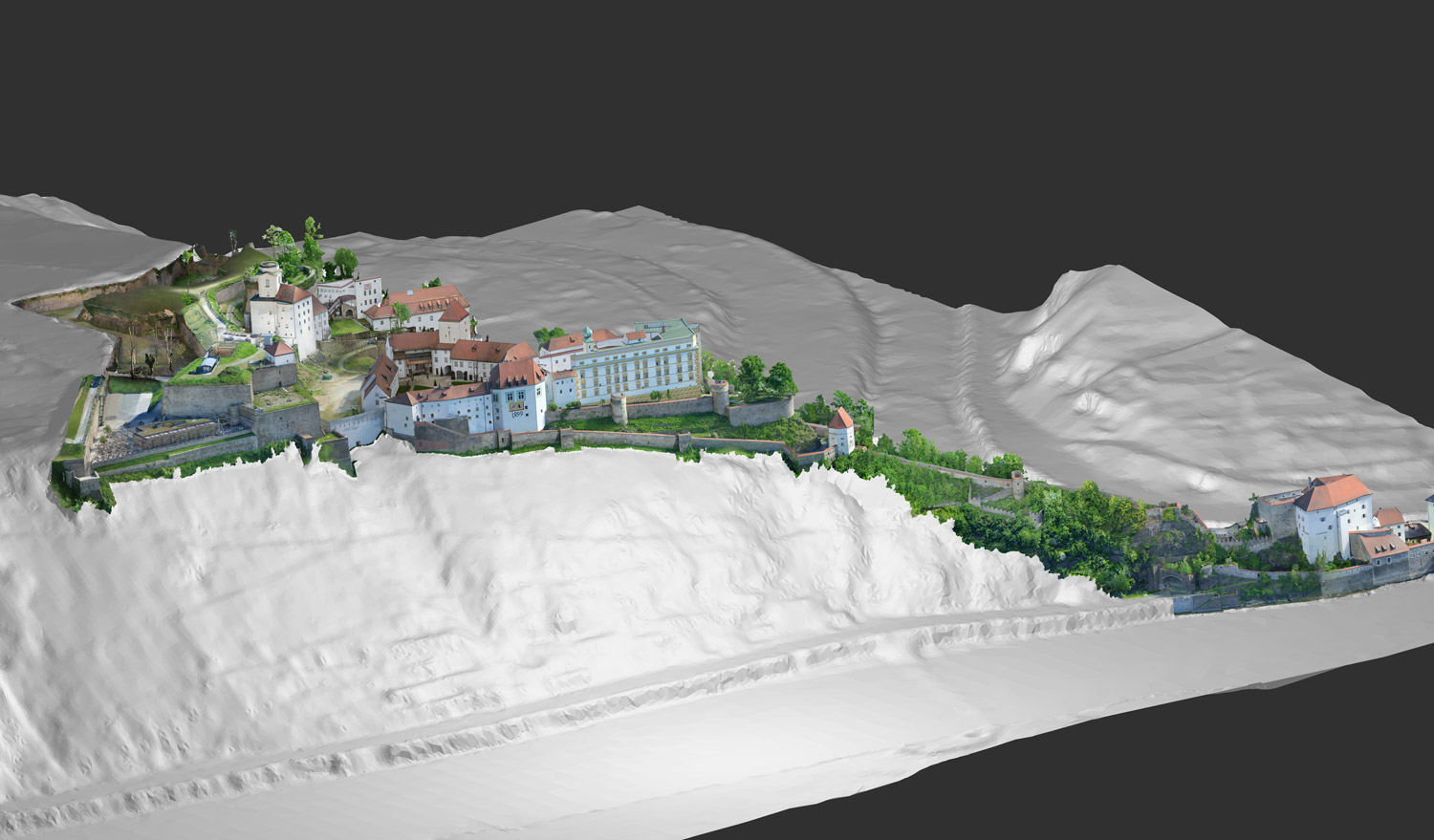3D survey of the fortress with its very extensive building stock incl. the surrounding terrain