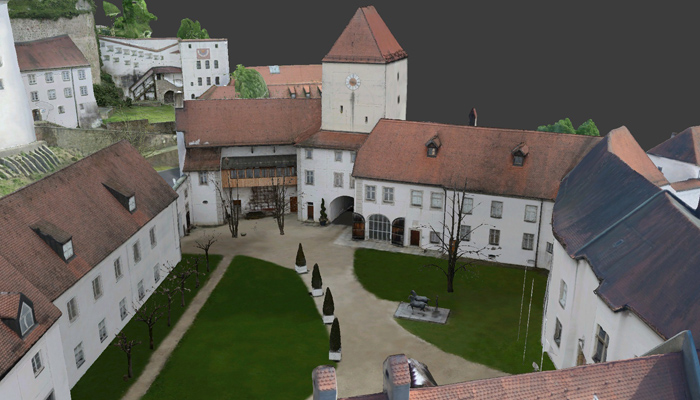 Fortress Veste Oberhaus Passau, 3D model of the inner courtyard
