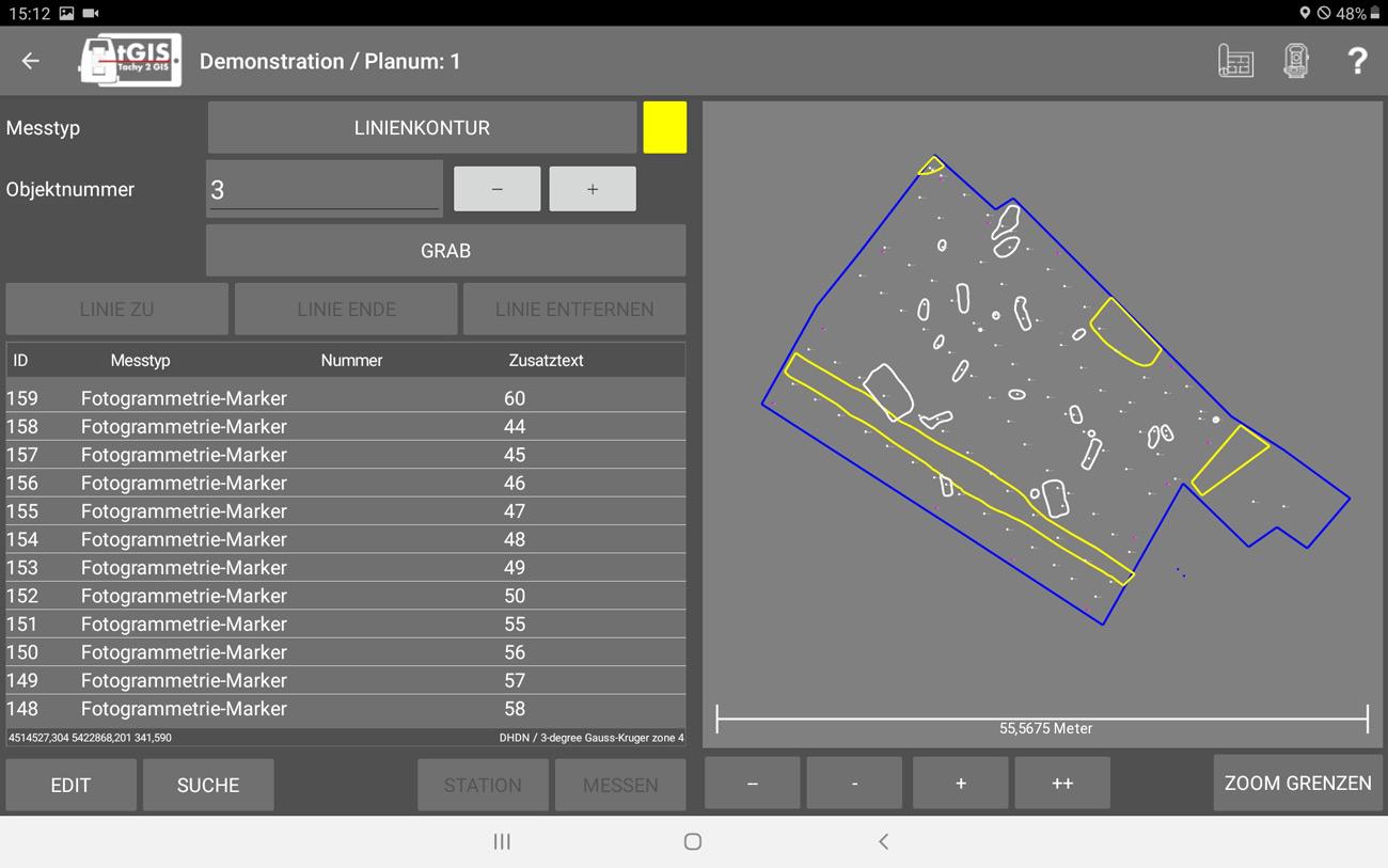 tGIS App für Archäologen - Screenshot Planumseinmessung