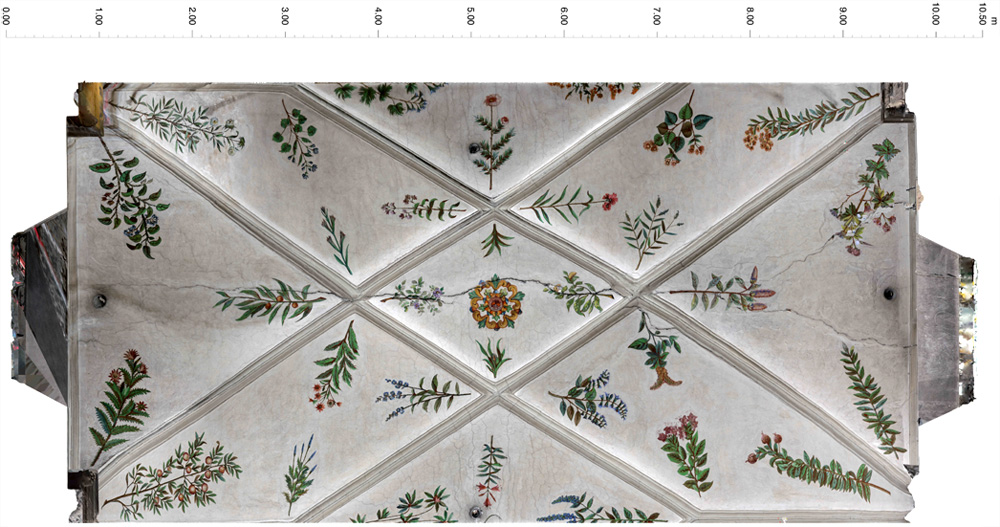 3D model - ceiling of the nave above the choir, orthophoto