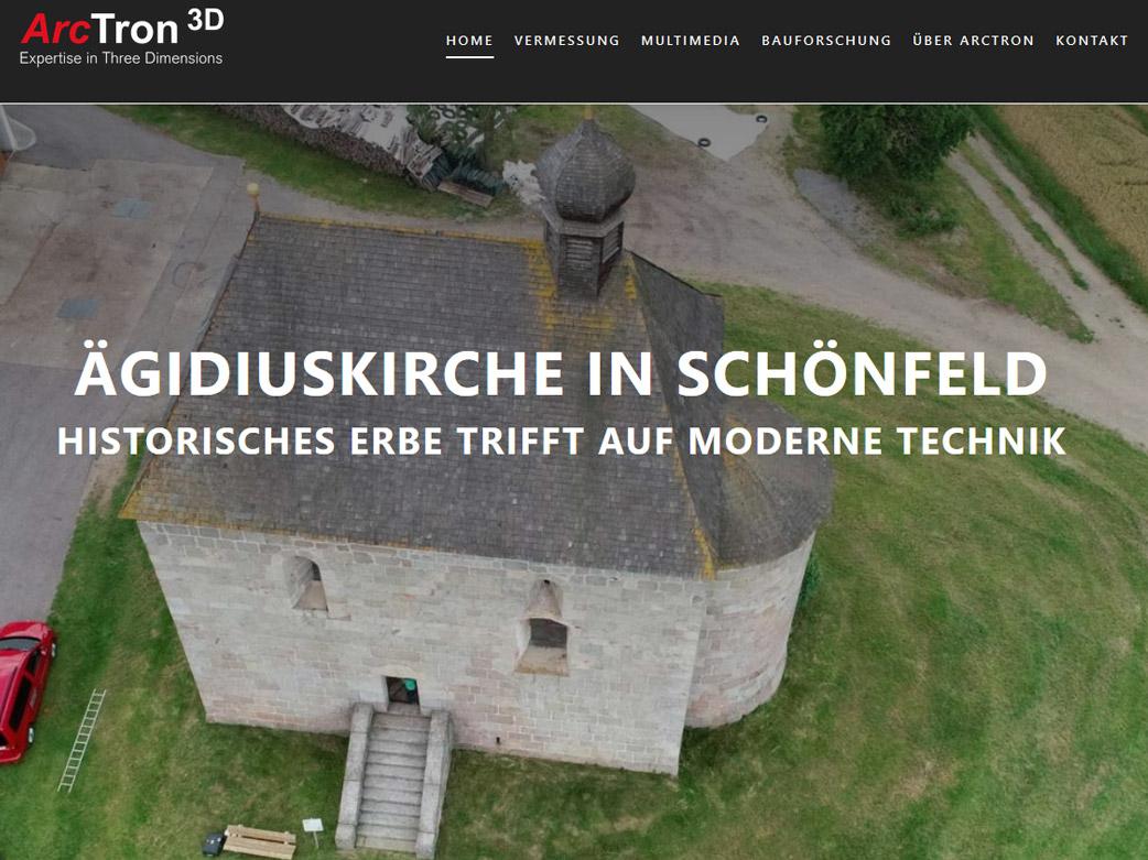 Webseite zur Präsentation des Denkmals St. Ägidiuskirche in 3D