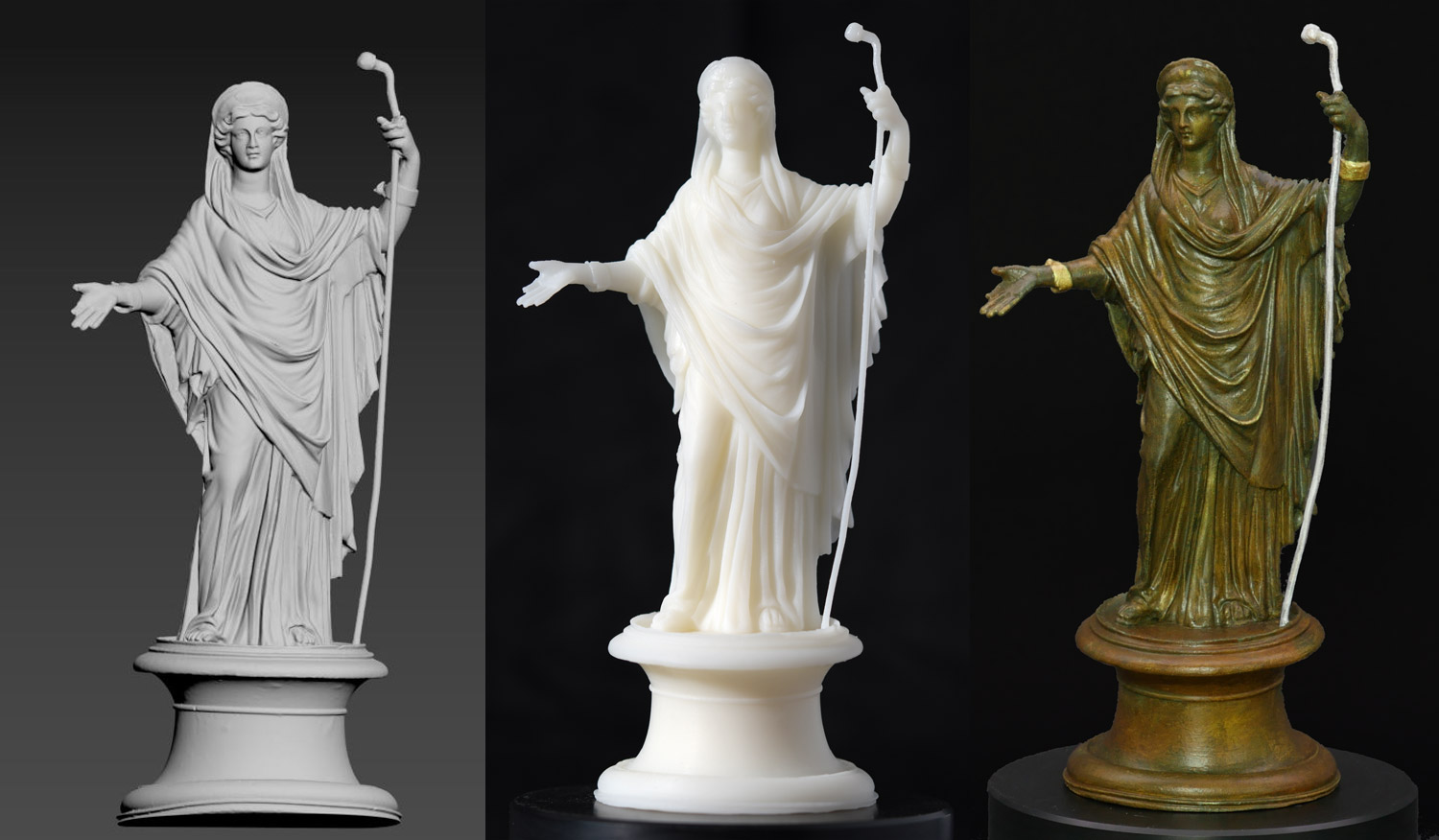 Capture object in 3D, process data (left), print in 3D (center), color in museum quality (right)