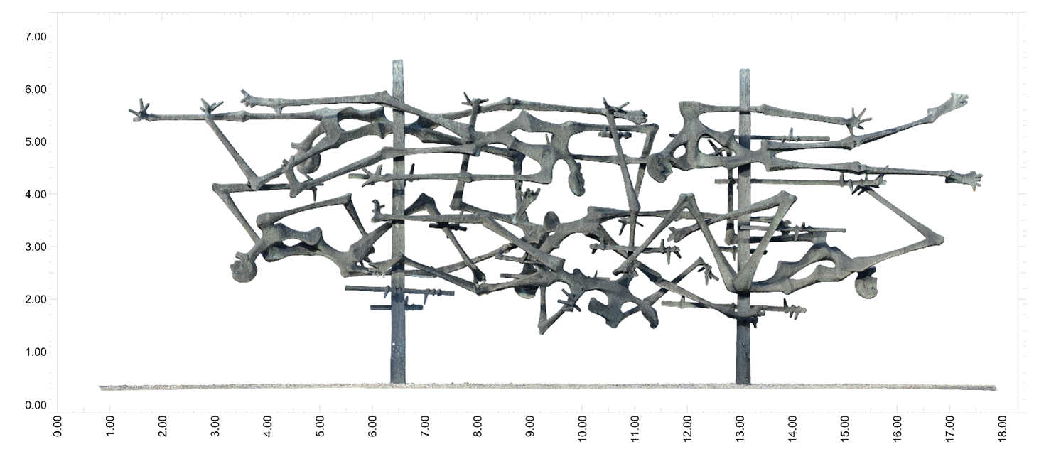 Orthographic view of the concentration camp sculpture in Dachau